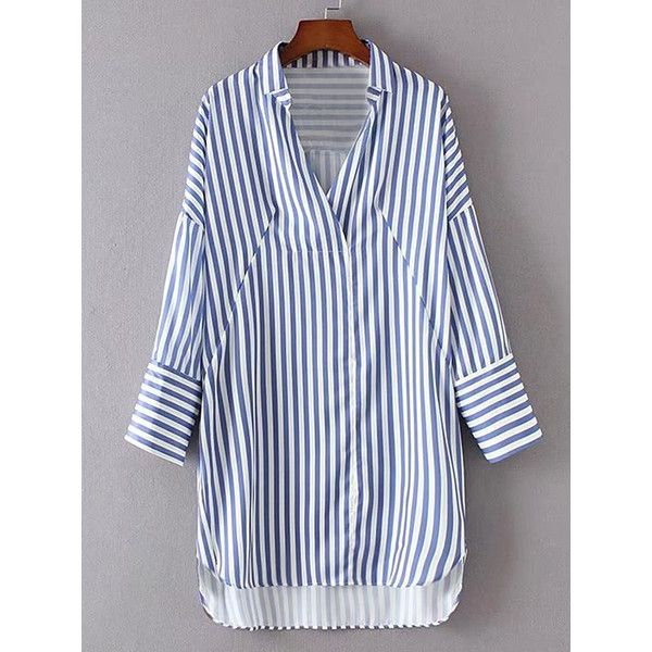 SheIn(sheinside) Vertical Striped High Low Shirt Dress (1,210 INR) ❤ liked on Polyvore featuring dresses, blue, long-sleeve maxi dresses, long sleeve dress, shirt dress, blue hi low dress and vertical stripe dress