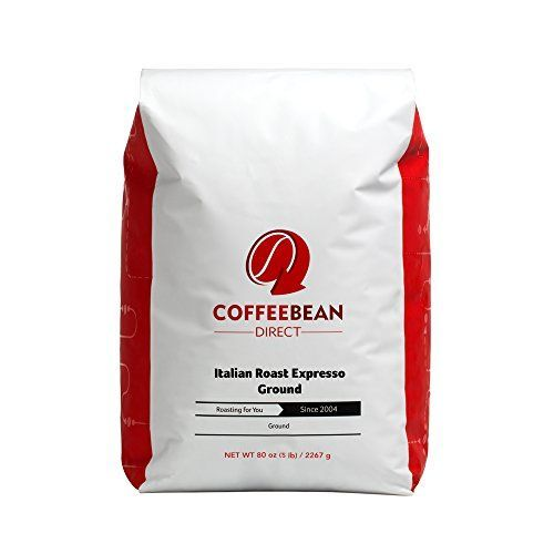 Coffee Bean Direct Italian Roast Espresso Ground Coffee, 5-Pound Bag * More info could be found at the image url.