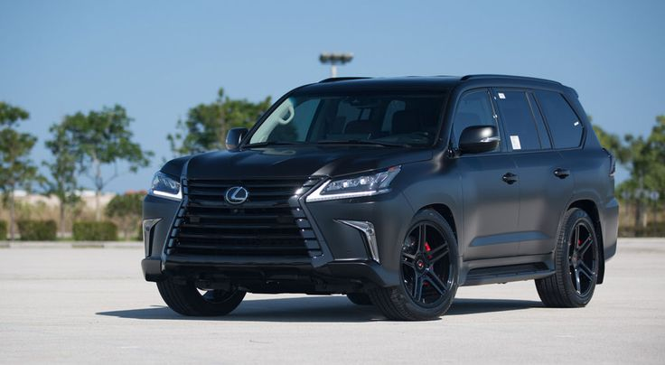 Lexus LX satin matte black and gloss black with Vossen and Brembo GTs.