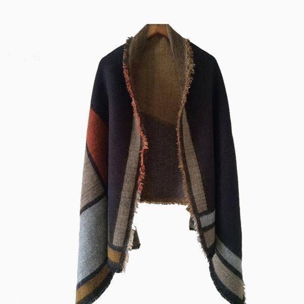 Warm Fashion Color-Block Knitted Soft Cashmere Shawl Scarf