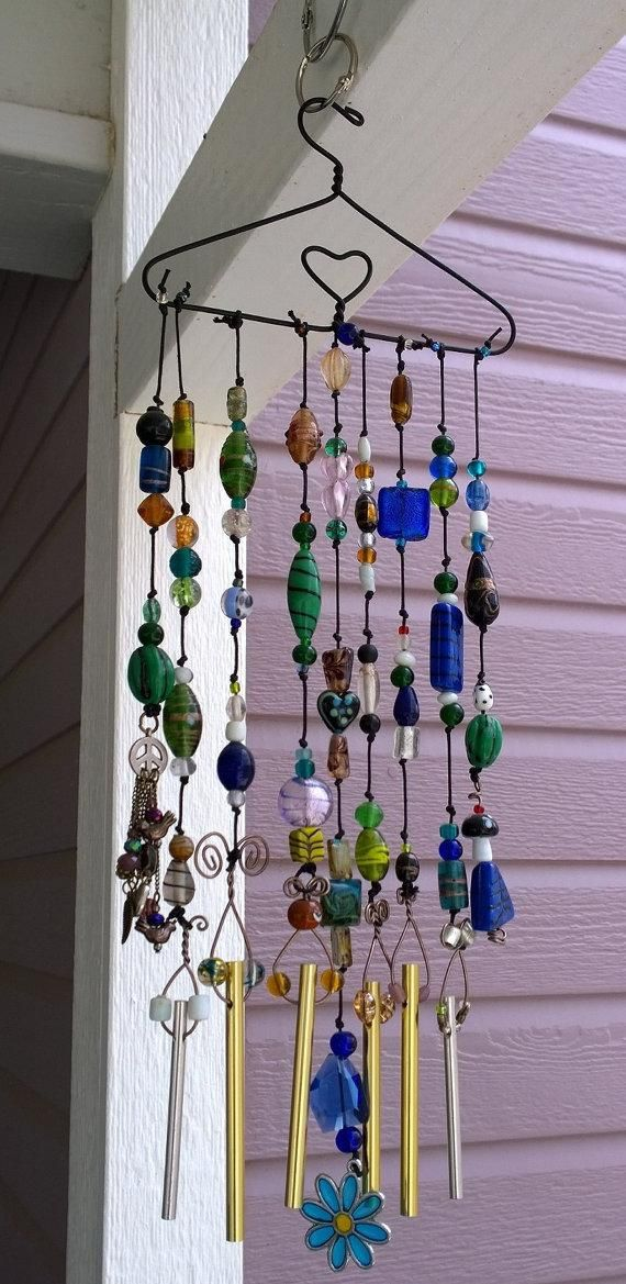 "Glass Beaded Wind Chime on 6"" Doll Hanger With Heart"