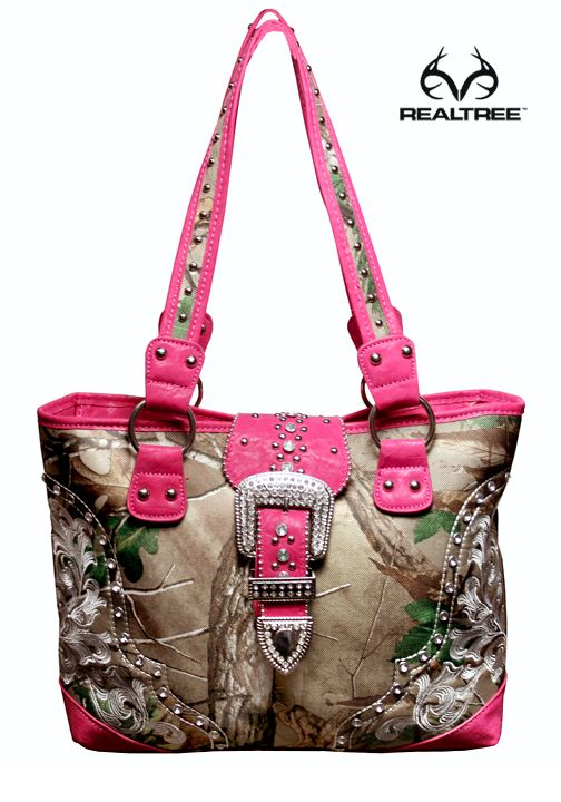 Realtree Xtra Green Camo Studs And Scroll Purse With Fuchsia Accent  #Realtreecamo #camopurses #camohandbags