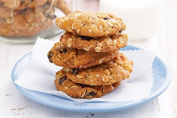 Apricot and sultana oat cookies. Crunch into an oak cookie and find juicy morsels of apricot and sultana.
