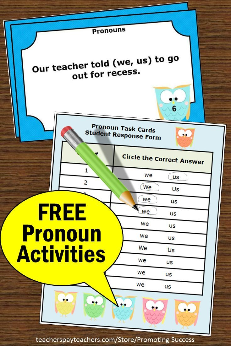 photo relating to Printable Task Cards titled Totally free Unique Pronouns Endeavor Playing cards We or Us , Grammar