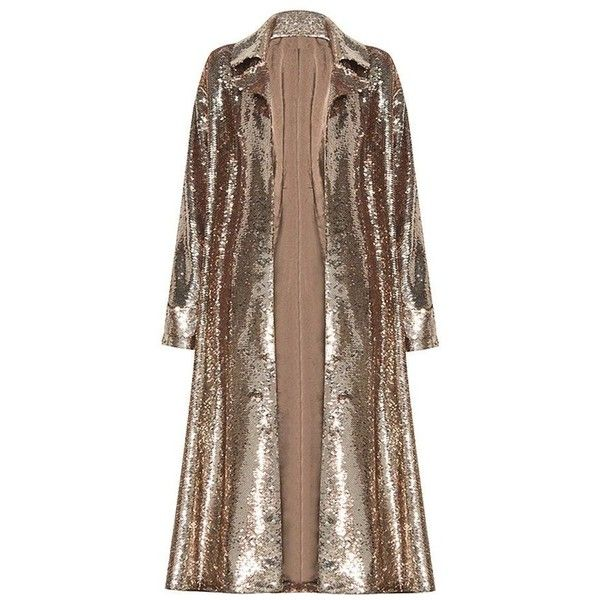 Sequins Trench Coat Gigi Hadid Style ❤ liked on Polyvore featuring outerwear, coats, over coat, sequin coat, brown overcoat, collar coat and brown coat