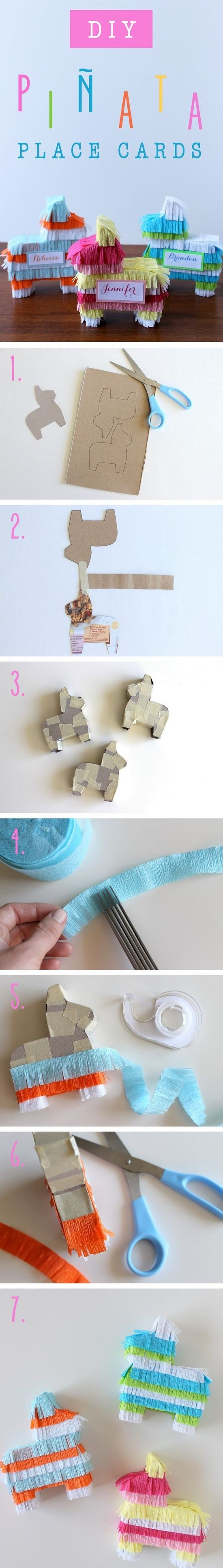 Diy Piñata Place Cards...could Fill With Treats And Use As A Cute Party Give Away