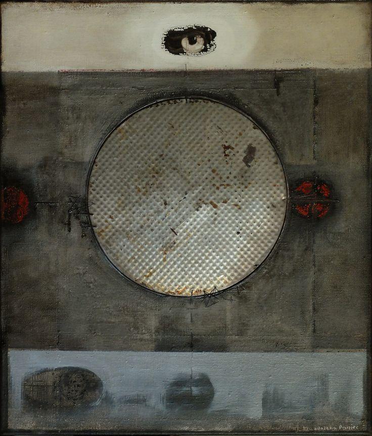 Ostatnia blaszana planeta, oil, mixed media, collage on canvas, 61x 52 cm, 2016