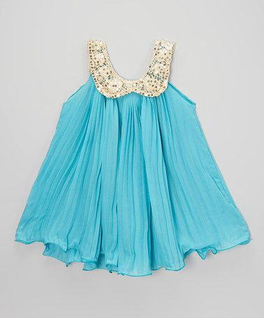 Look what I found on #zulily! Blue Ruffle Tunic Dress - Toddler & Girls by Sweet Cheeks #zulilyfinds