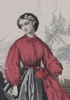 Garibaldi Blouse - Blouses with high necks and full closed sleeves. The red garibaldi was especially popular in the 1860s, named after a popular Italian General named Guiseppe Garibaldi.