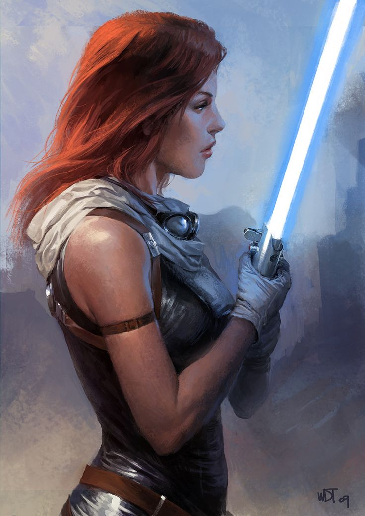 Old fan art piece of Mara Jade (Skywalker). One of the most popular Star Wars Legends character after Grand Admiral Thrawn.