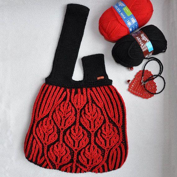 Japanese style. Project Knitting Bag. Knitters Gift. Large Japanese Shoulder Knot Bag. Handbag Knitters two-way . Knitting brioche stitch. This Japanese Shoulder Knot Bag is made of Yarn 50% Wool, 50% Acrylic. #Бриошь#Вязаниебриошь#