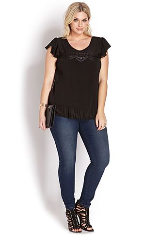Be Seen Accordion Pleated Blouse   FOREVER21 PLUS - 2000070369