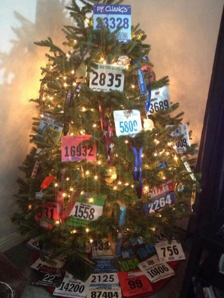 Readers showed us how they decorate for the holidays using race bibs and finisher's medals!