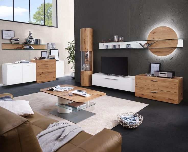 wohnwand in eichefarben wei wohnw nde pinterest tv units dark walls and living rooms. Black Bedroom Furniture Sets. Home Design Ideas