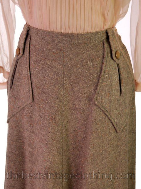 Vintage 1940s Skirt Taupe Wool Tweed A Line Retay Cool Pockets 28 Waist - The Best Vintage Clothing - 4