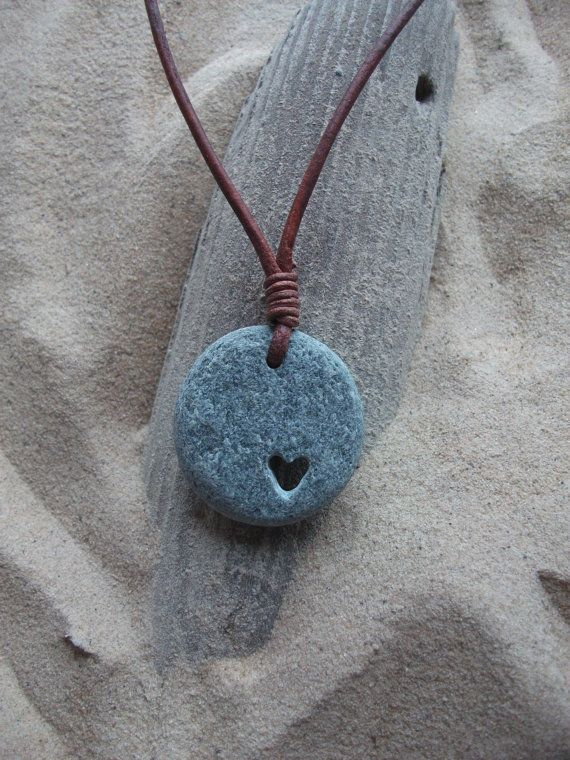 Scottish Sea Pebble Carved Heart Necklace by byNaturesDesign, $16.00