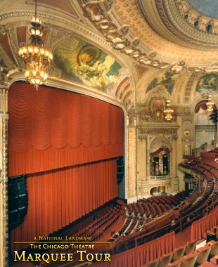 The grandeur of The Chicago Theatre often leaves its visitors breathless. The elegant lobby, majestic staircase and beautiful auditorium complete with murals above the stage and on the ceiling, are components of an amazing building.