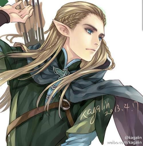 Legolas from Lord of The Rings, anime style.  .............   one word hot