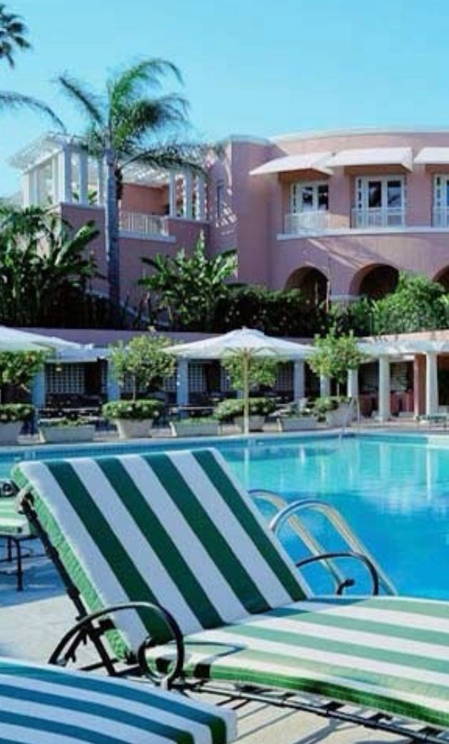 We Love The Green Stripes Found Poolside At Beverly Hills Hotel