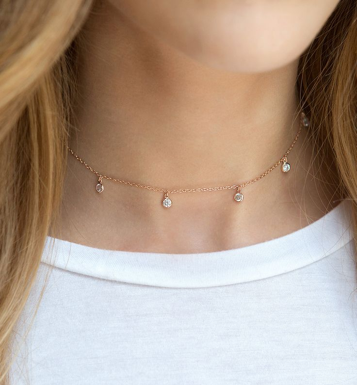 Delicate Rose Gold Choker Necklace, Rose Gold Crystal Chain Choker, Crystal Dangle Choker, Rose Gold Layering Necklace, Rose Gold  N354