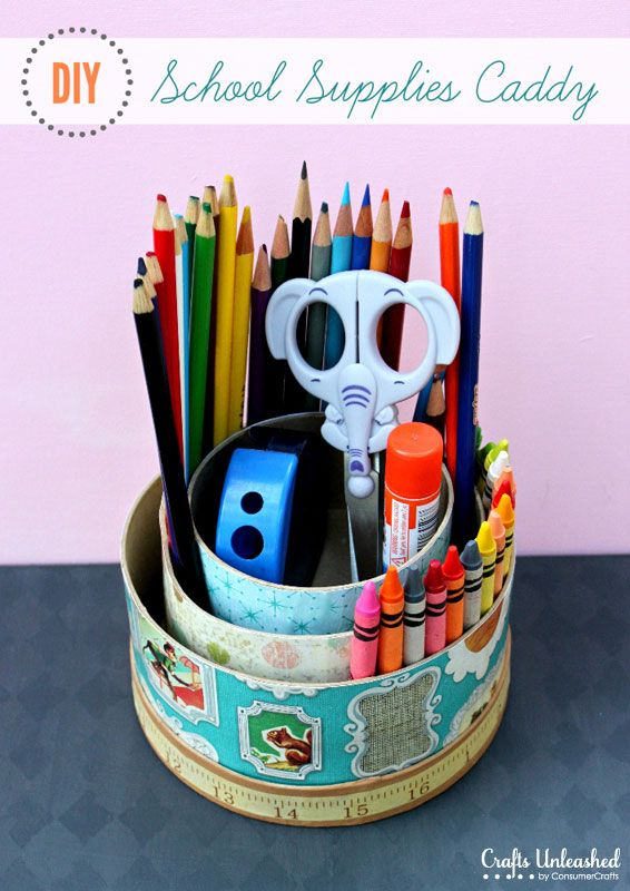 No more searching for pencils, colors, or sharpeners! Keep everything within easy reach with this cute DIY school supplies storage caddy.