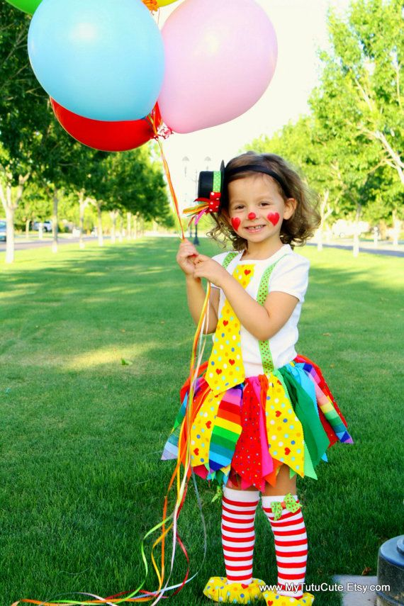 Rainbow Clown Tutu Costume including Fabric Scraps by mytutucute, $57.99