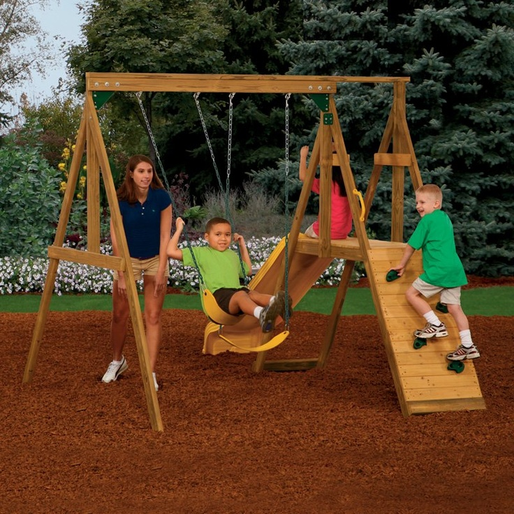 PlayStar Playsets Sonoma Wood Swing Set with Scoop Slide