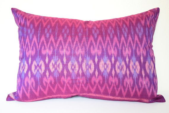 13 x 20 inches Purple Ikat Cushion Cover Pillow Cover by IkatPikat