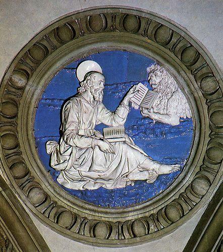 Andrea della Robbia, l'Evangelista Marco, 1491. Prato, Santa Maria delle Carceri  #TuscanyAgriturismoGiratola
