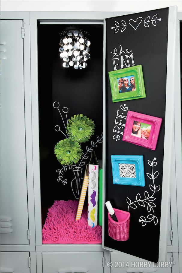 rock the chalk look all the way to your locker with our fun and stylish locker - Locker Decoration Ideas