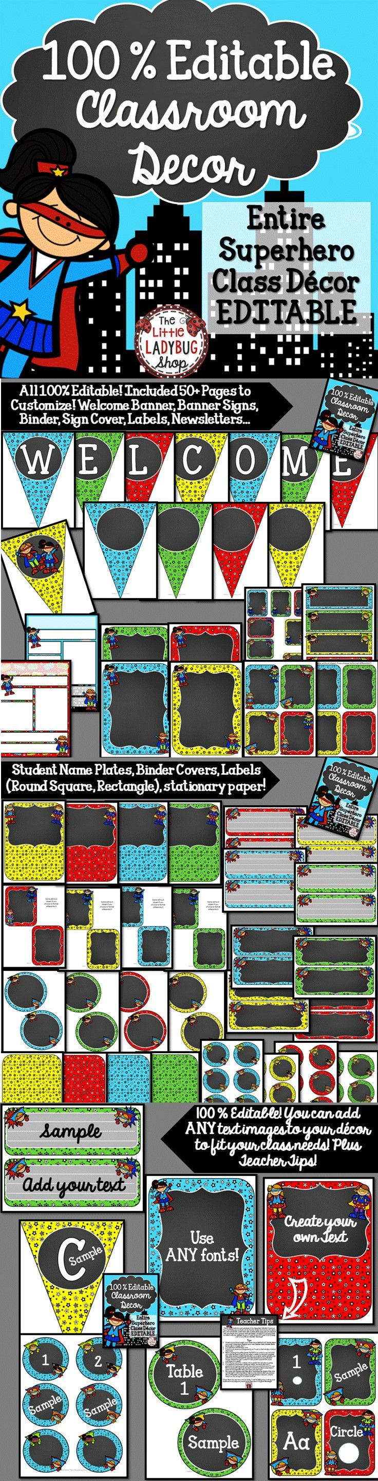 Classroom Décor: Superhero Theme {100% Editable}  Classroom Decoration / Classroom Design /Classroom Set Bundle   A complete Classroom Décor Set all Editable options to meet your classroom Needs!