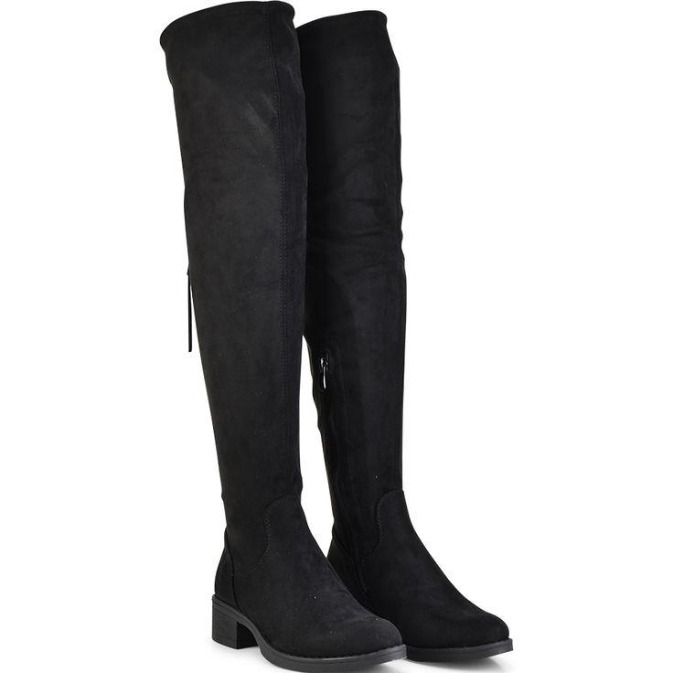 Μαύρη σουεντ μπότα πάνω απο το γόνατο Lets Walk JN77-06