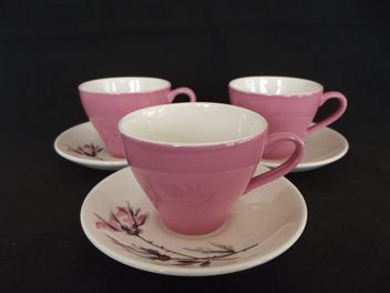 Crown Lynn Pink Tulip Cups on Old Rose Saucers.