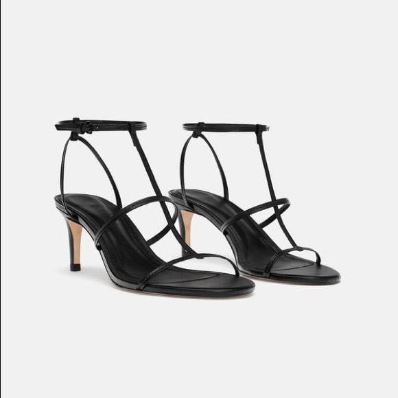 Zara black leather high heeled strappy