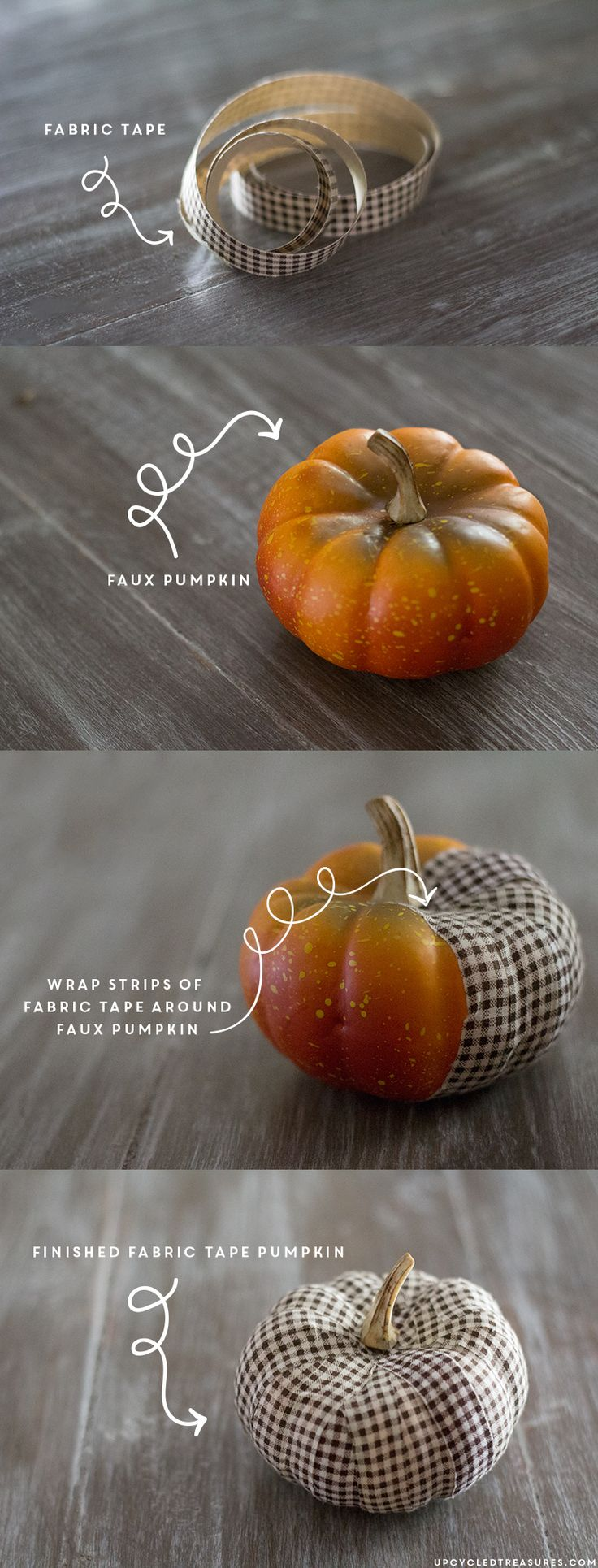 LOVE these DIY Fabric Tape Pumpkins! Wrap faux pumpkins with fabric tape for an adorable, rustic touch. upcycledtreasures.com