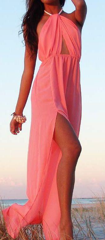 Sexy Pink Maxi Dress.