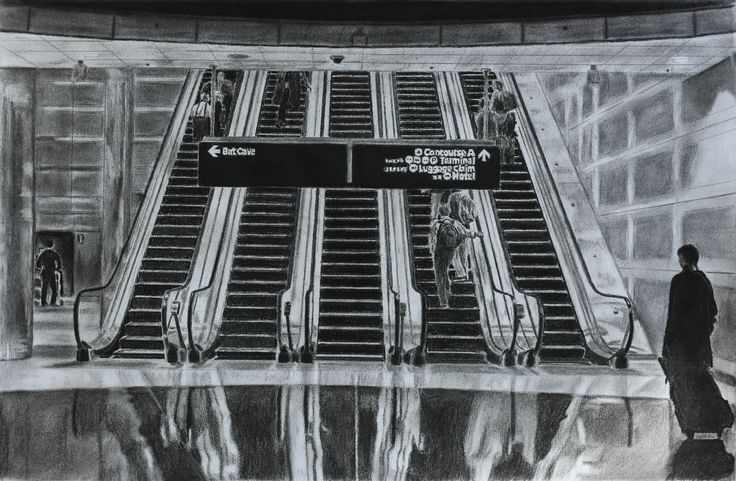 """Escalators - charcoal on paper "" by Adrian Ball. Paintings for Sale. Bluethumb - Online Art Gallery"