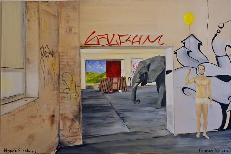 Hope & Elephant   Oil On Canvas  1,5 meter times 1 meter