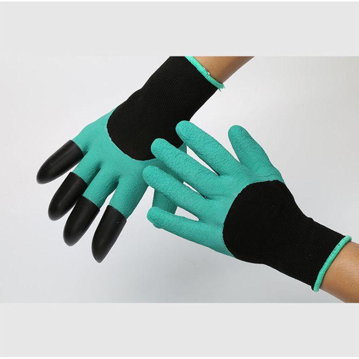 1 Par guantes de jardín De Goma Poliéster Constructores Garden Trabajo Guantes De Látex 4 ABS Plástico Garras Guantes de Seguridad de Trabajo de Protección