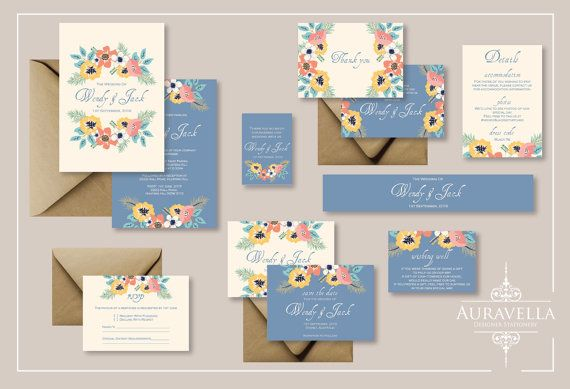 Printable wedding invitation suite. wedding Invitation Set. Blue cream. Floral invitation. wedding. Save The Date. Floral Wedding Invitation