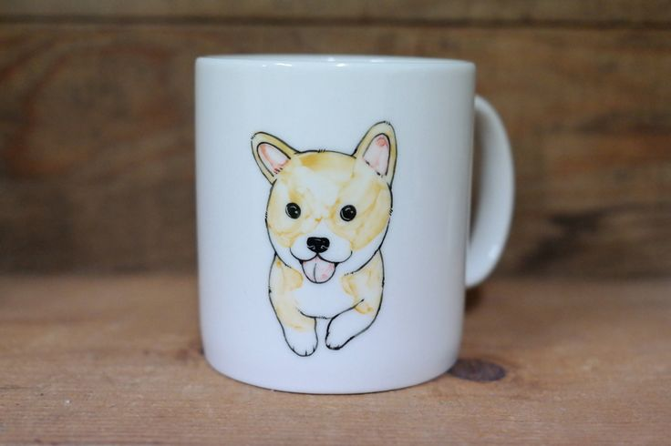 Hand painted animal mug cup - Cute mug cup - Baby Welsh Corgi dog by CreativeStoneCera on Etsy