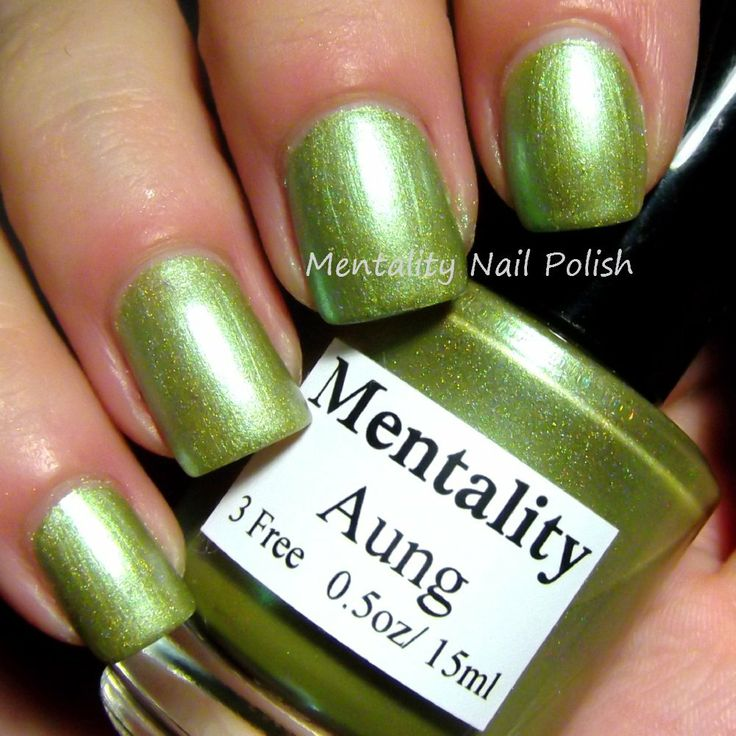 Mentality Nail Polish - Aung, a light green blue holographic nail polish. Dries to a semi gloss finish great for stamping.