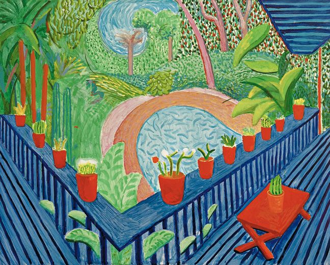 David Hockney (born 1937)Red Pots in the Garden, 2000Oil on canvas, 60 x 76 in. (152.3 x 193 cm)Collection of the artist.This picture, painted in the artists garden inthe Hollywood Hills, is viewed from his blue terrace.  The balcony railing, accented by red flowerpots, creates a deep perspective, behind which stretches the vfiew of the garden and pool below.  The freestyle work conveys a mood of restraint that characterizes Hockneys own garden as a paradisial spot.