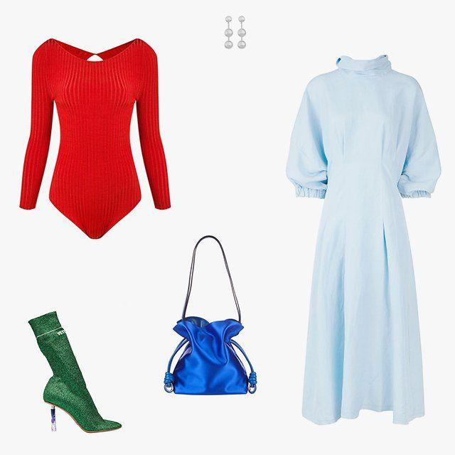 Andrea Bogosian ribbed bodysuit, $466, farfetch.com; Agmes short Paula earrings, $410, agmesnyc.com; Rachel Comey light blue high-neck Scarp dress, $550, avenue32.com; Loewe Flamenco knot small satin shoulder bag, $1,690, matchesfashion.com; Vetements textile ankle boots, $1,875, svmoscow.com
