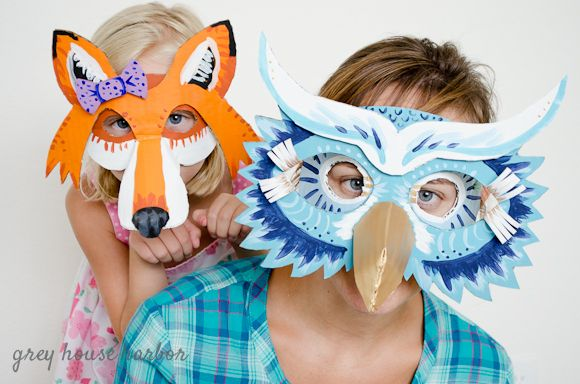owl and fox cardboard masks - free templates!