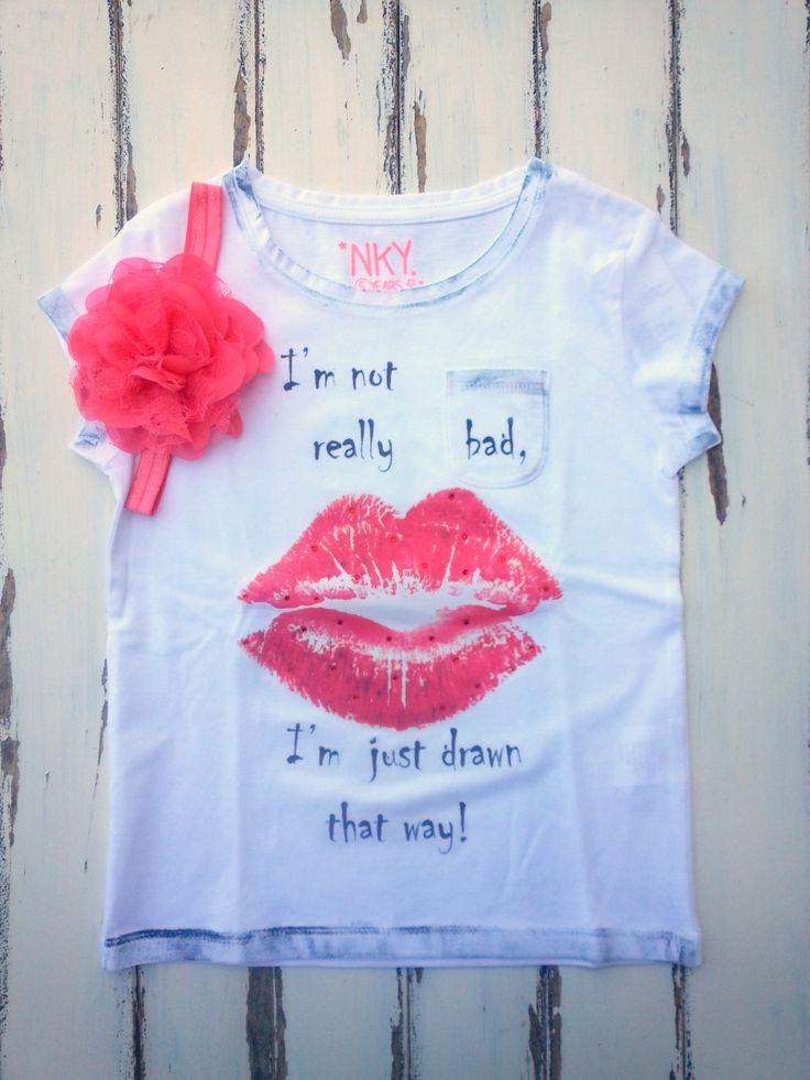 Lips Shirt With Matching Headband, Girls Shirt With Rhinestones, Girls T-Shirt 5 Years, Girls Rock Style Shirt, Rocker Girl Shirt,Kiss Shirt by PinkAndBlueSugar on Etsy