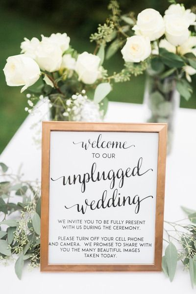 Unplugged wedding ceremony sign idea - white + black sign in gold frame for unplugged ceremony {Rockhill Studio}