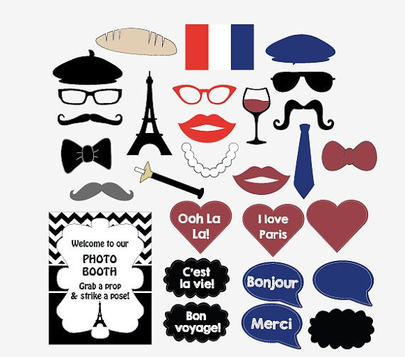 digital Paris party photo booth props French by redmorningstudios, $9.99