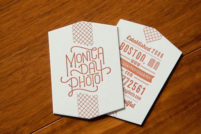 Monica Day Photography • Letterpress Diecut Business Card Design