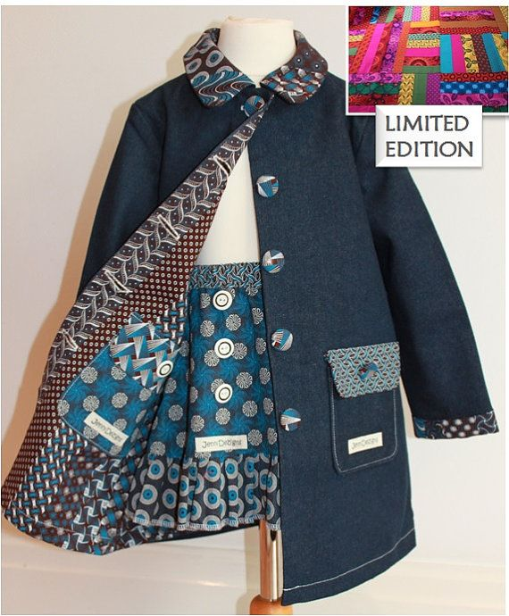 LIMTED EDITION Girls Winter Denim/ African Print by JenniDezigns
